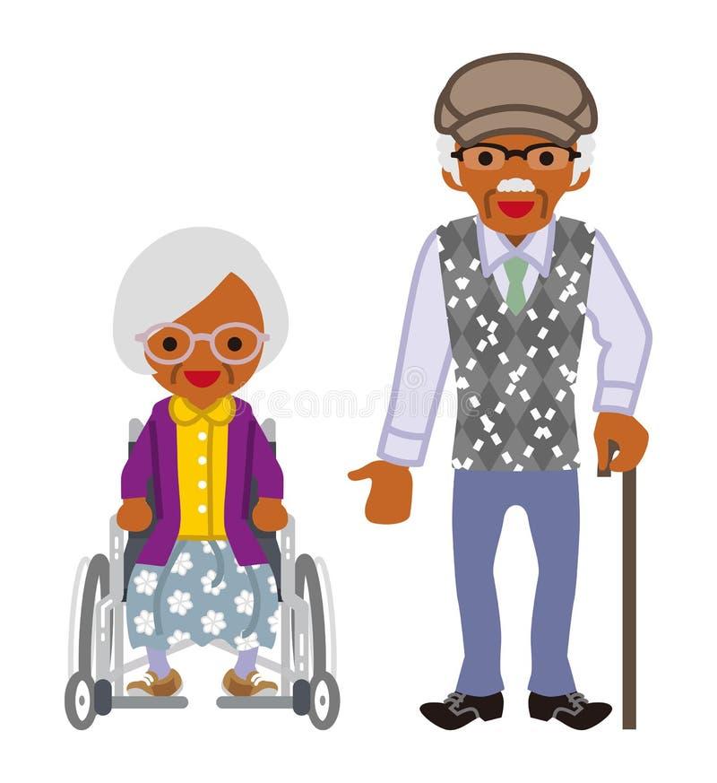 Pares mayores - africano, mujer de la silla de ruedas y hombres del bastón que caminan ilustración del vector
