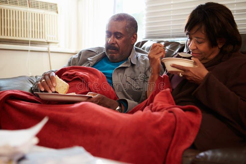 Pares mayores con la dieta de los pobres que guarda la manta inferior caliente imágenes de archivo libres de regalías