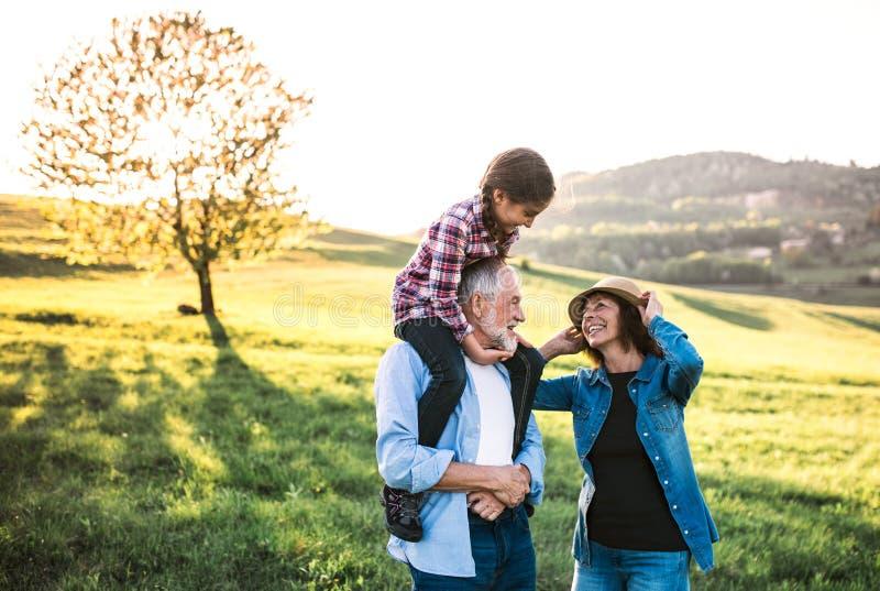 Pares mayores con la nieta afuera en naturaleza de la primavera, divirti?ndose fotos de archivo libres de regalías