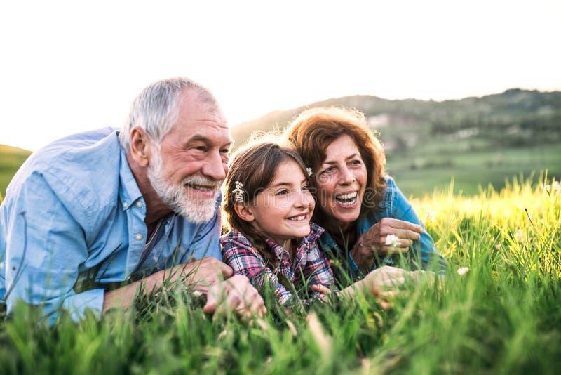 Pares mayores con la nieta afuera en la naturaleza de la primavera, relaj?ndose en la hierba imagen de archivo