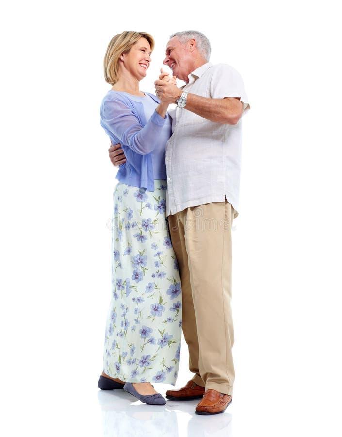 Pares mayores de baile en amor. imagen de archivo