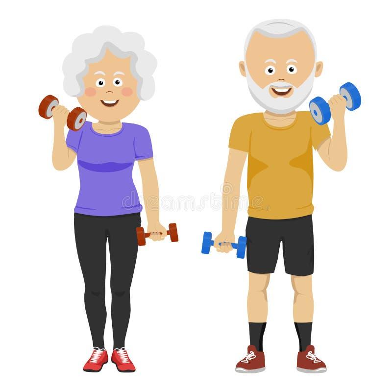 Pares mayores de la gente con la sonrisa de las pesas de gimnasia Nuevo programa de entrenamiento para los pensionistas Vida y de libre illustration