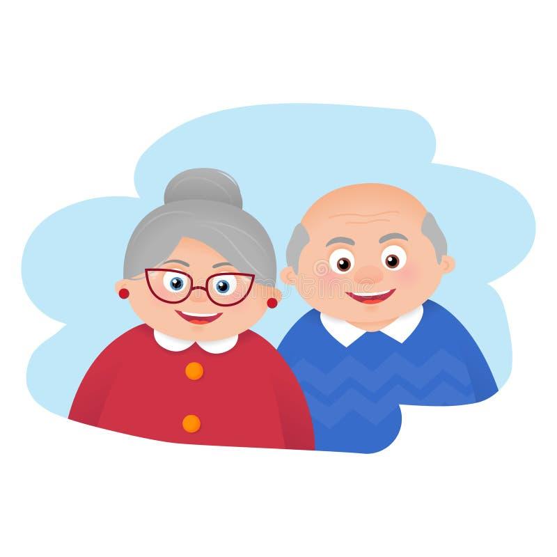 Pares mayores de los abuelos de la historieta stock de ilustración