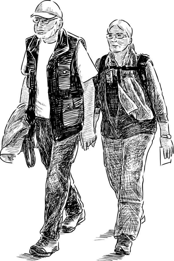 Pares mayores de turistas stock de ilustración