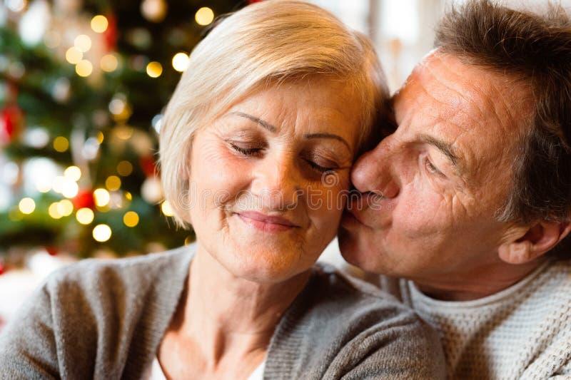 Pares mayores delante del árbol de navidad que se besa, ascendente cercano imágenes de archivo libres de regalías