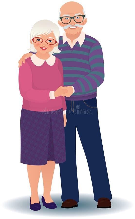 Pares mayores en amor ilustración del vector