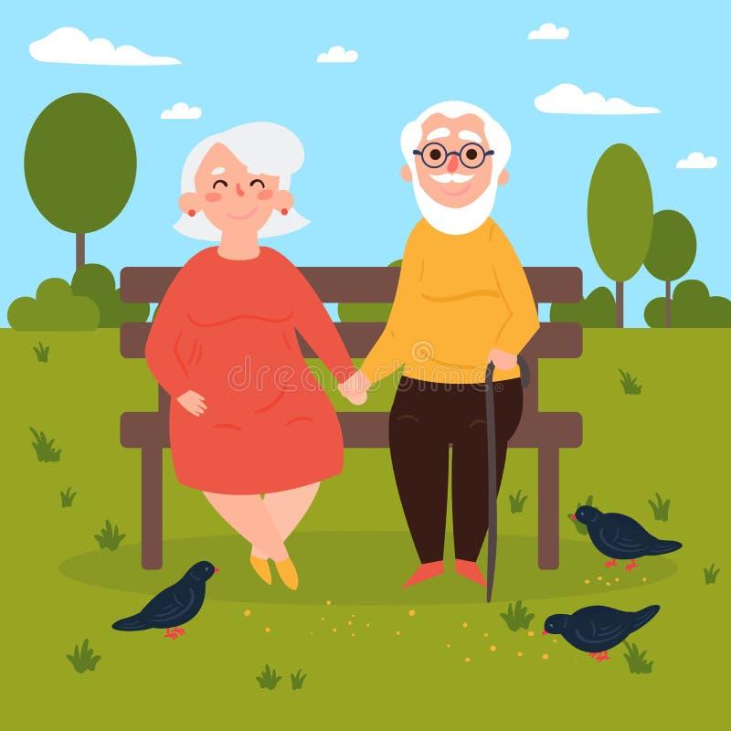Pares mayores en amor en banco al aire libre palomas stock de ilustración