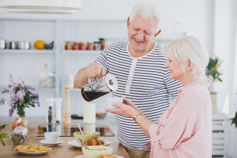 Pares mayores en la cocina imagen de archivo libre de regalías