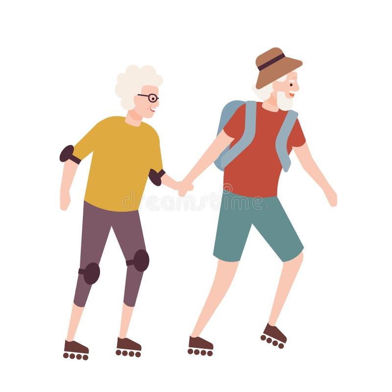 Pares mayores en pcteres de ruedas Pares de viejo hombre y de mujer que sostienen las manos y patinaje sobre ruedas Actividad de  libre illustration