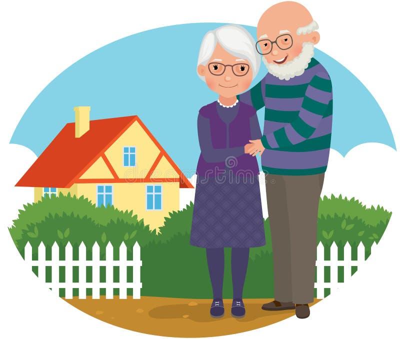 Pares mayores en su hogar stock de ilustración