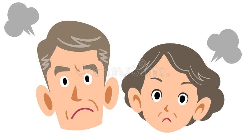 Pares mayores enojados, personas mayores maduras ilustración del vector