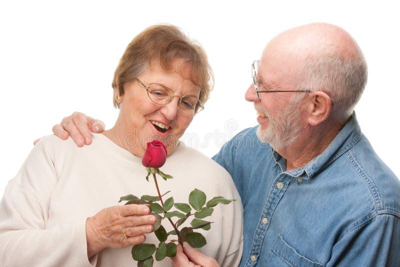 Pares mayores felices con Rose roja imagenes de archivo
