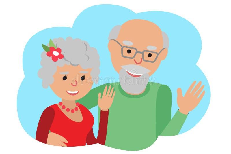 Pares mayores felices que agitan su mano libre illustration