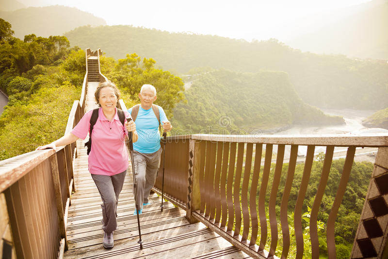 Pares mayores felices que caminan en la montaña foto de archivo