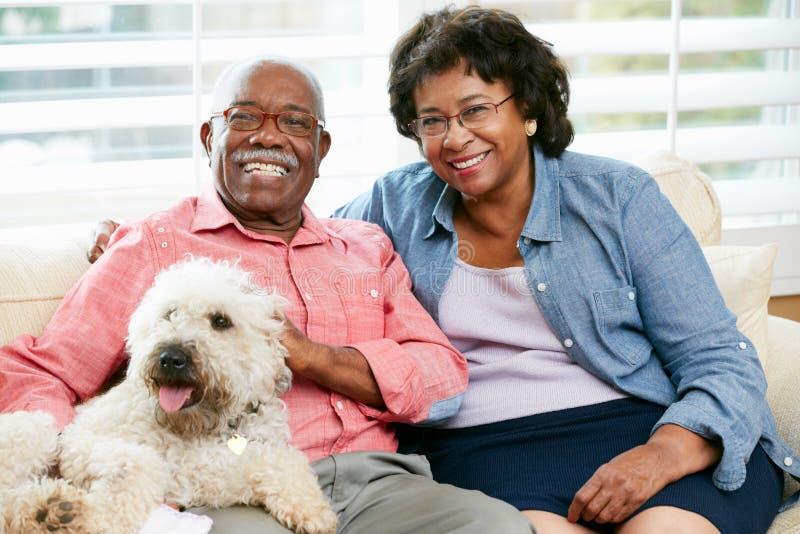 Pares mayores felices que se sientan en el sofá con el perro fotografía de archivo