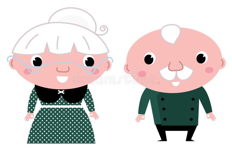Pares mayores lindos: abuela y abuelo ilustración del vector