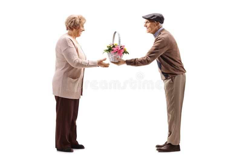 Pares mayores lindos de un hombre que da las flores a una mujer foto de archivo