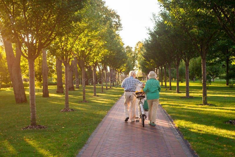 Pares mayores que caminan con la bicicleta foto de archivo