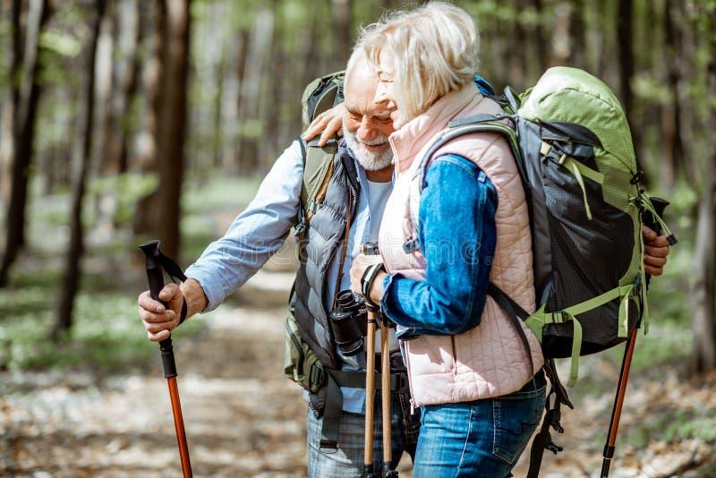 Pares mayores que caminan en el bosque fotos de archivo libres de regalías