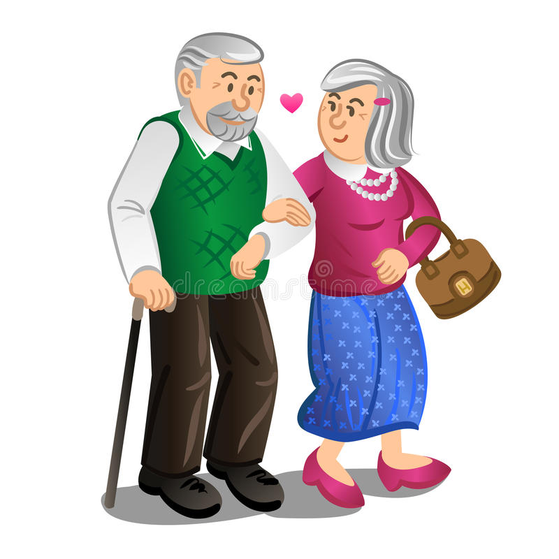 Pares mayores que caminan llevando a cabo las manos Ilustración del vector ilustración del vector