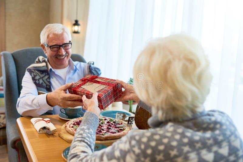 Pares mayores que intercambian los regalos en la Navidad imágenes de archivo libres de regalías
