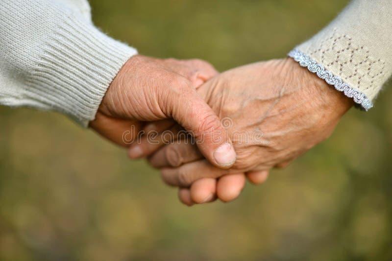 Pares mayores que llevan a cabo las manos en parque hermoso foto de archivo libre de regalías