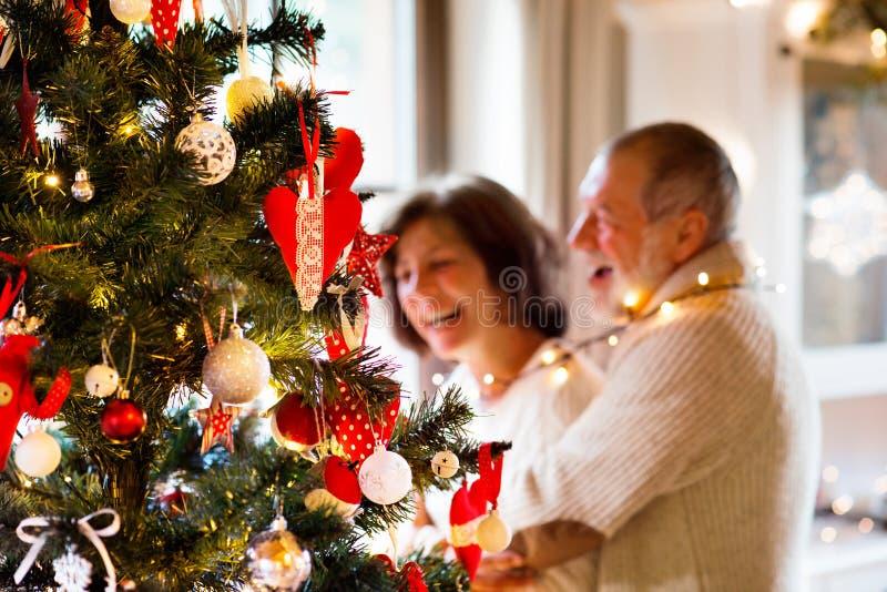 Pares mayores que miran el árbol de navidad en casa fotografía de archivo