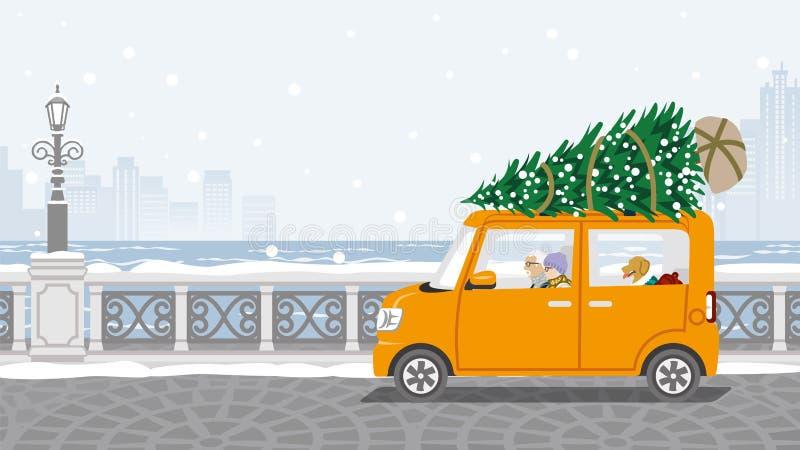 Pares mayores que montan el coche que cargó el árbol de navidad - W ilustración del vector