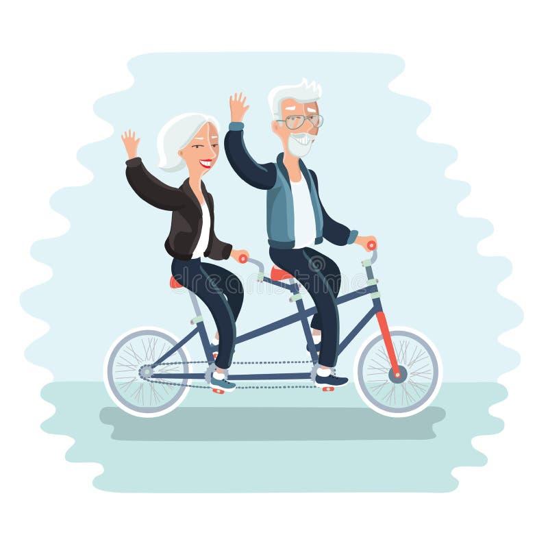 Pares mayores que montan una bicicleta stock de ilustración