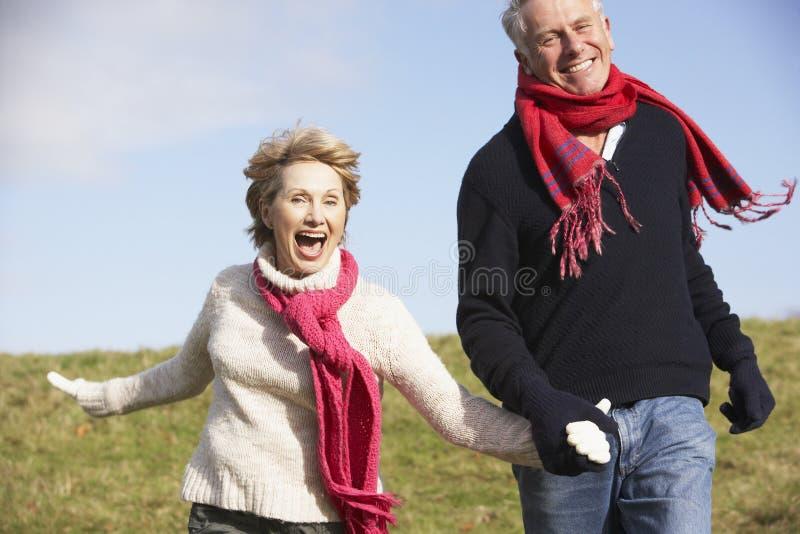 Pares mayores que se ejecutan en el parque foto de archivo libre de regalías