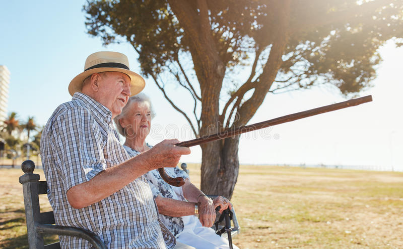 Pares mayores que se relajan en un banco de parque y que disfrutan de la visión foto de archivo libre de regalías