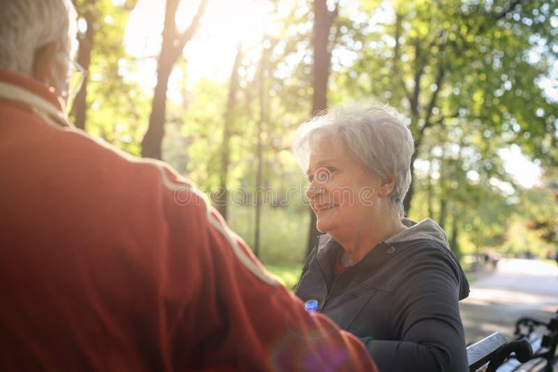 Pares mayores que se sientan en banco en parque y hablar fotografía de archivo