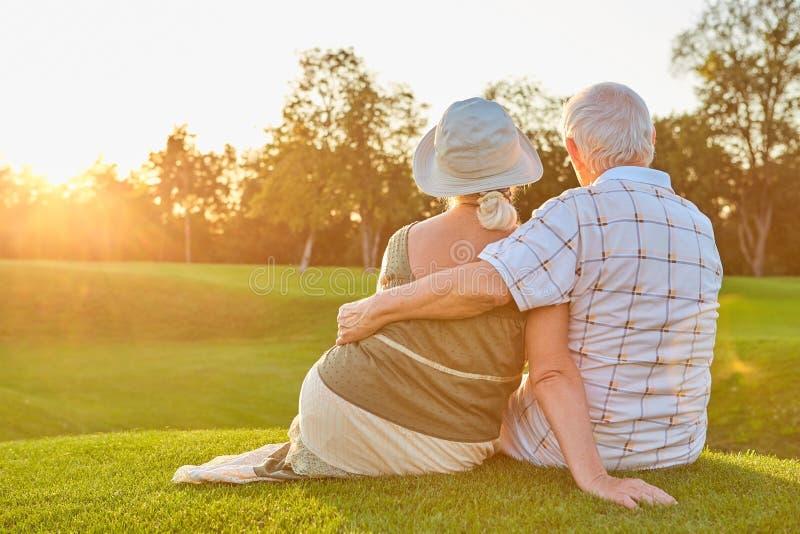 Pares mayores que se sientan en hierba fotografía de archivo libre de regalías