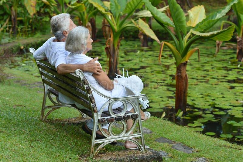 Pares mayores que se sientan en un banco al aire libre fotografía de archivo
