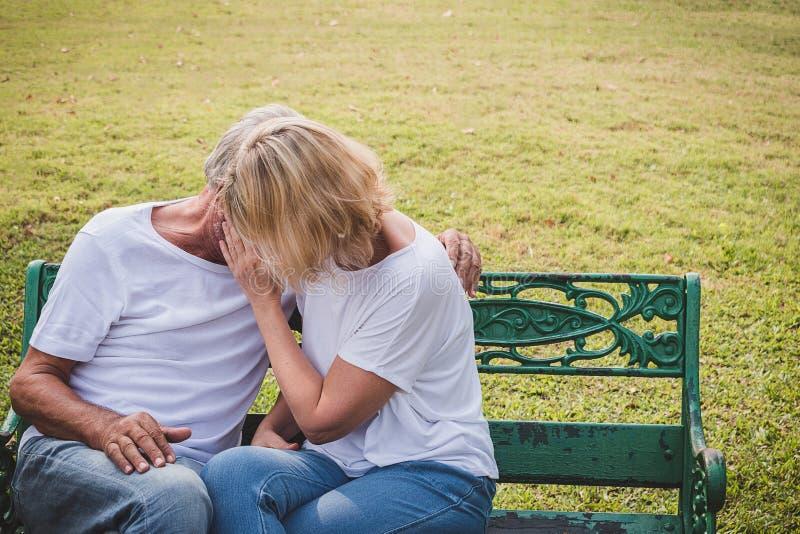Pares mayores que tienen tiempo romántico en un parque, haciendo imagen de archivo libre de regalías