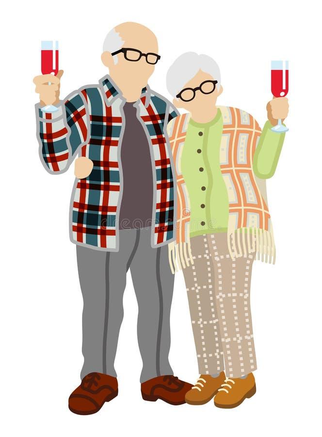 Pares mayores que tuestan con el vino libre illustration
