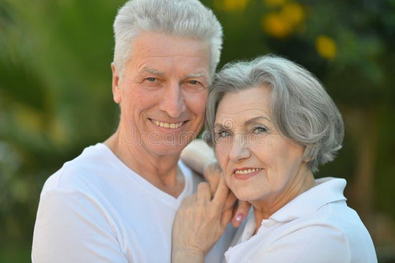 Pares mayores sonrientes al aire libre imágenes de archivo libres de regalías