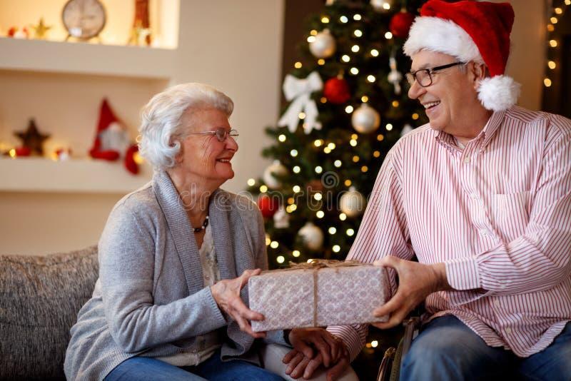 Pares mayores sonrientes con el regalo de la Navidad imagen de archivo libre de regalías