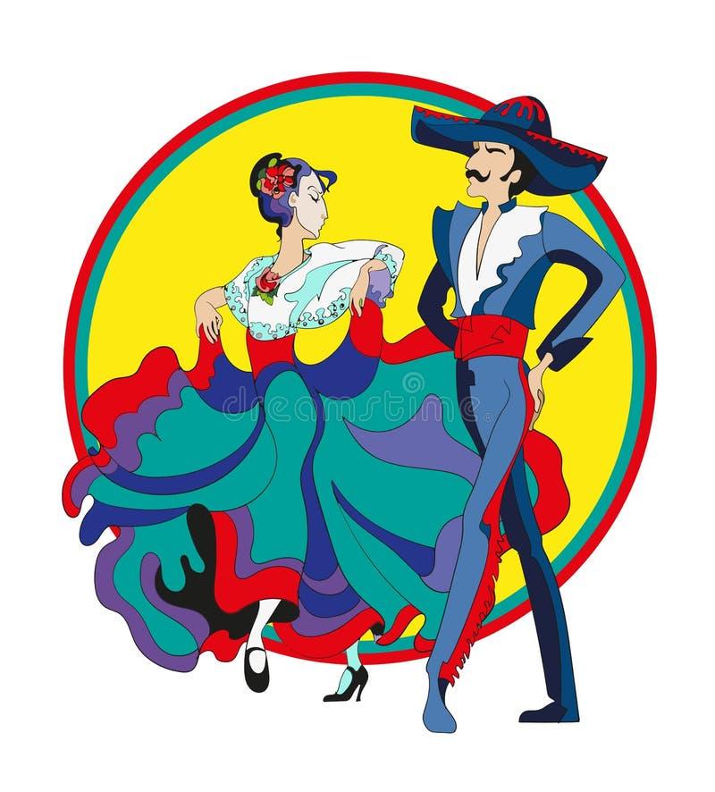 Pares mexicanos del baile stock de ilustración