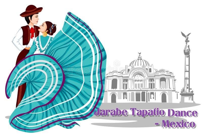 Pares mexicanos que realizan la danza de Jarabe Tapatio de México ilustración del vector