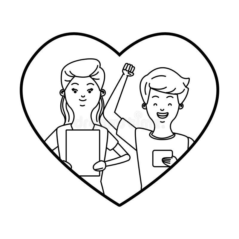Pares milenares em desenhos animados do quadro do coração em preto e branco ilustração do vetor