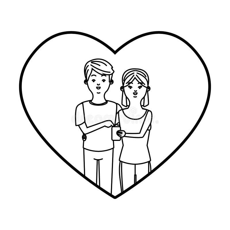 Pares milenares em desenhos animados do quadro do cora??o em preto e branco ilustração do vetor