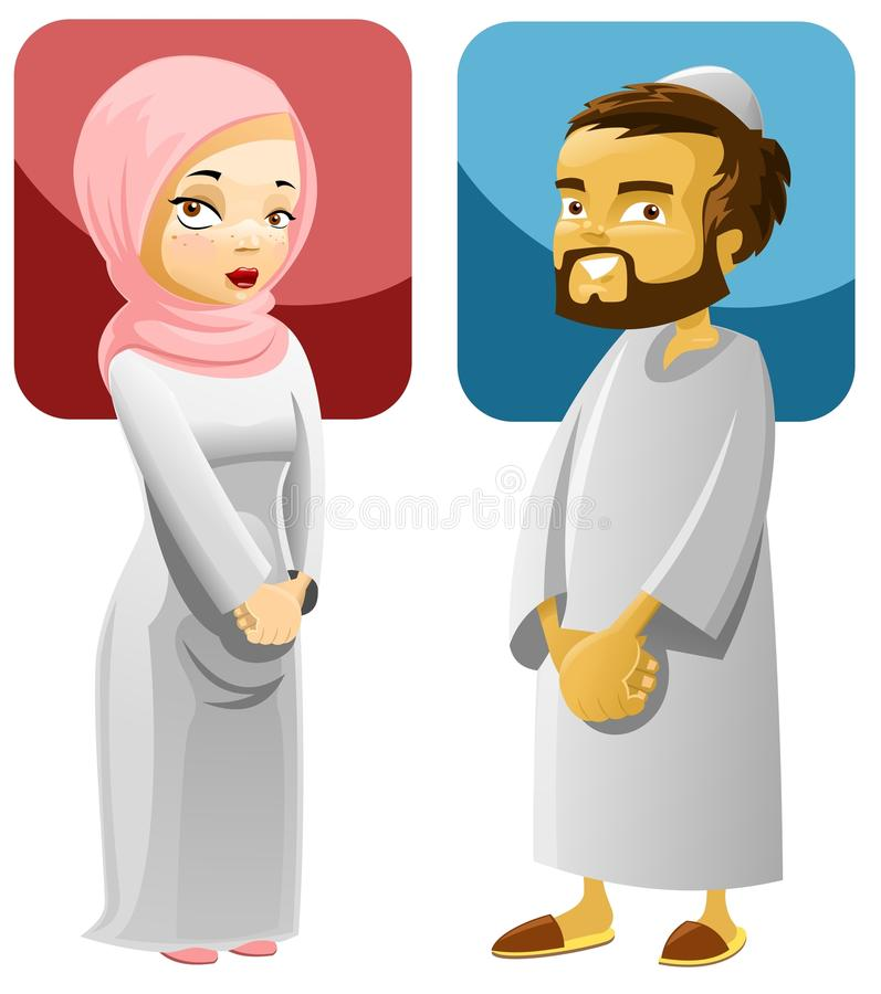 Pares muçulmanos 1 ilustração royalty free