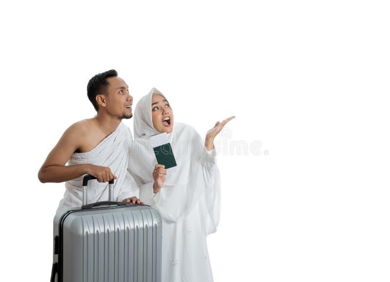 Pares muçulmanos esposa e marido prontos para o Haj fotos de stock royalty free