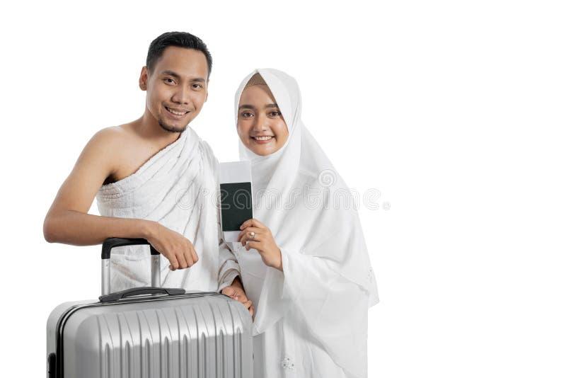 Pares muçulmanos esposa e marido prontos para o Haj foto de stock
