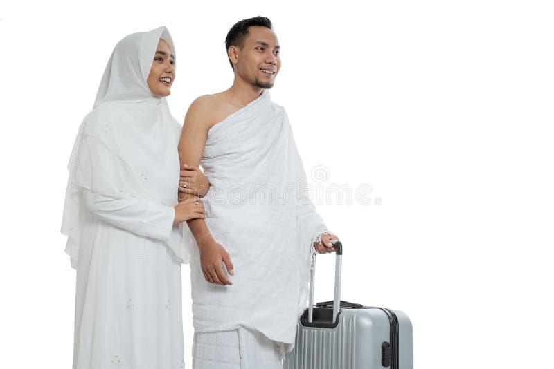 Pares muçulmanos esposa e marido prontos para o Haj fotografia de stock