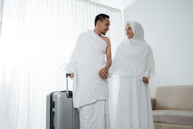 Pares muçulmanos esposa e marido prontos para o Haj imagem de stock royalty free