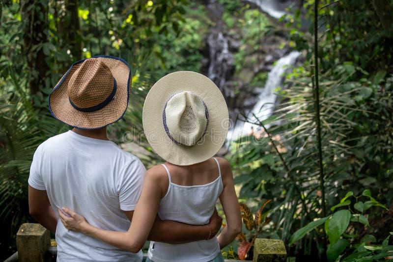 Pares multiculturais que apreciam o cenário da cachoeira em pares novos da raça misturada da floresta úmida tropical em férias em fotos de stock