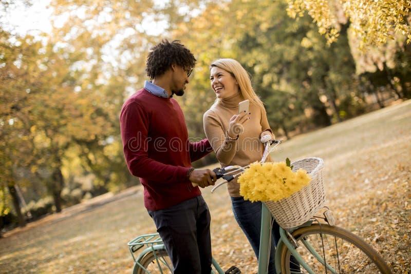 Pares multirraciais com a bicicleta no parque do outono imagens de stock