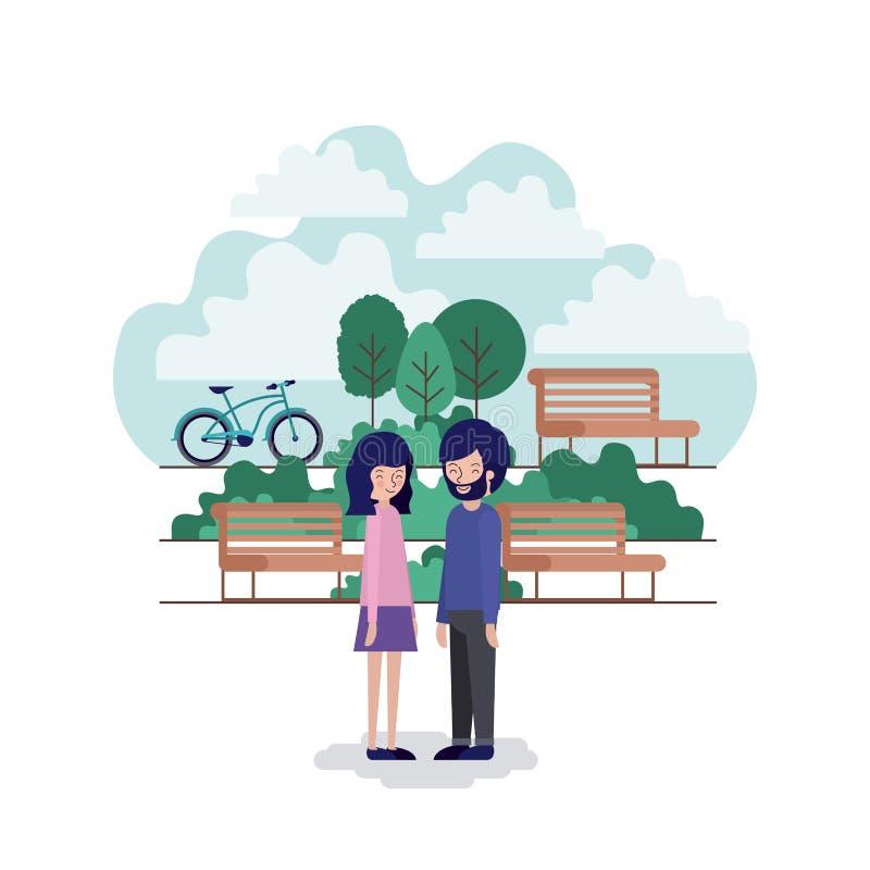 Pares na cena do parque com cadeira e bicicleta ilustração do vetor